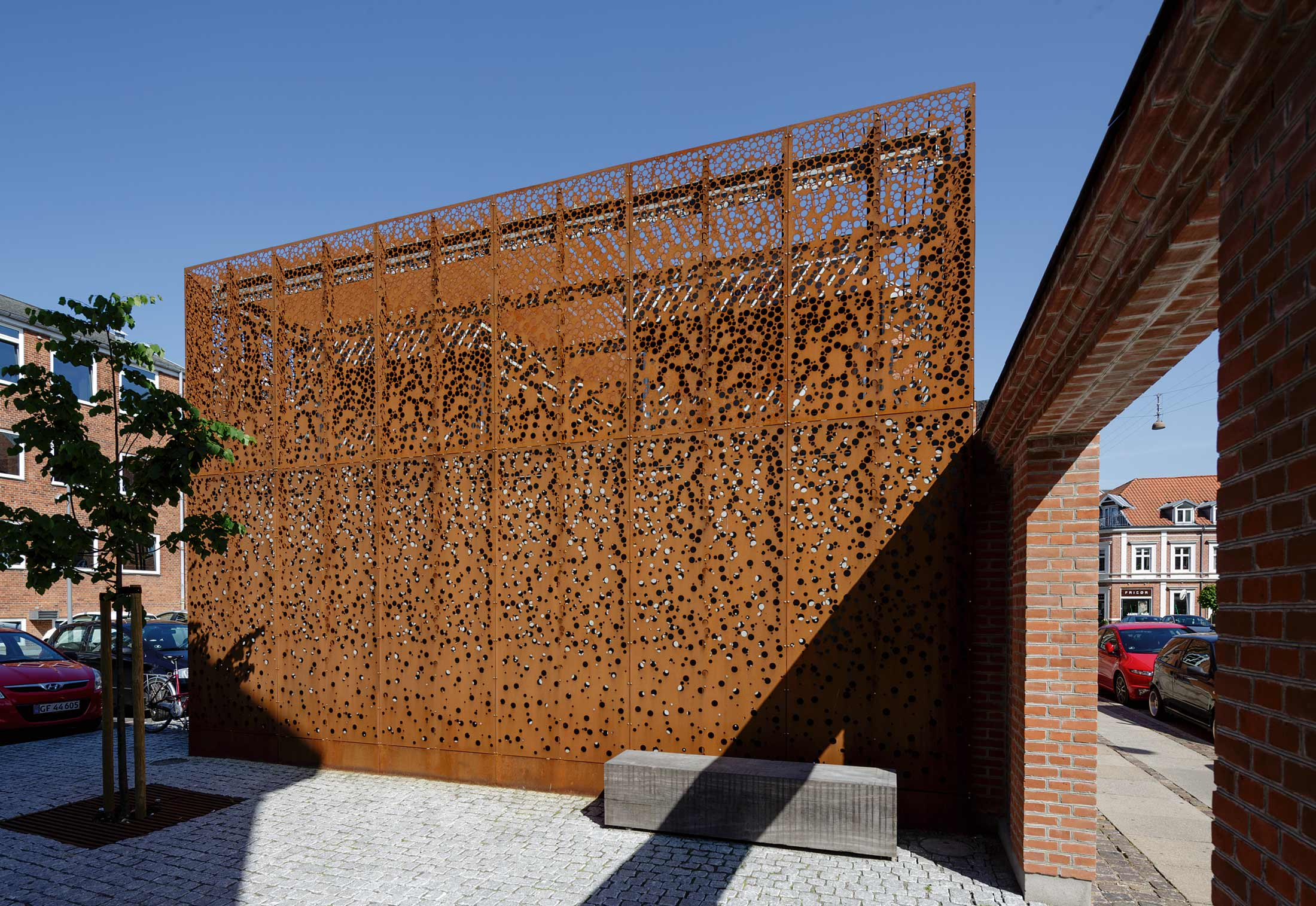 Perforated Corten Panels As Cladding Municipal Building