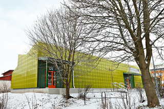 Perforated facade, Rinkeby Academy in Stockholm  by  RMIG