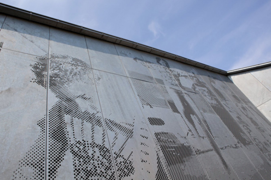Illustrative perforated picture for facade, Skansevejens Skole