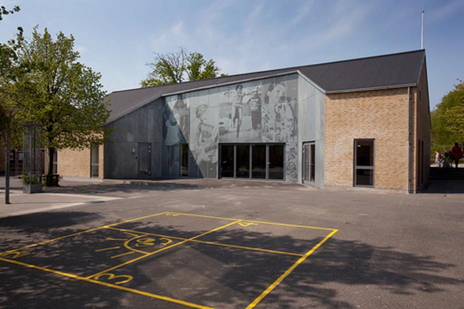 Illustrative perforated picture for facade, Skansevejens Skole