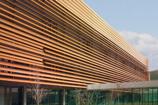 Special designed perforated sun screens, The Vendespace in Mouilleron le Captif  by  RMIG