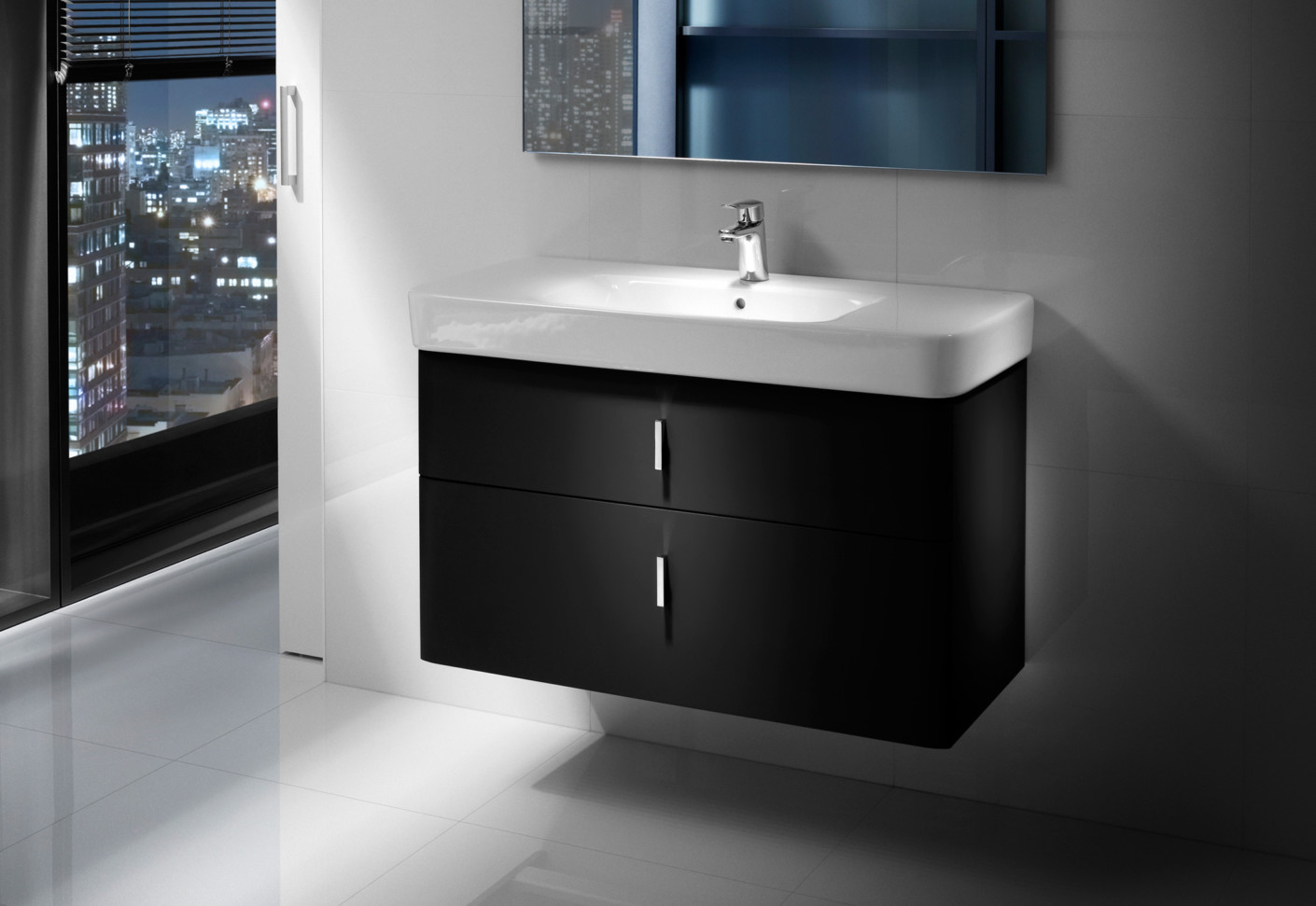 senso square wash basin with vanity unit - Roca Wash Basin