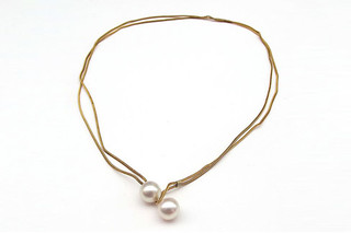 Gold Pearl Boule necklace  by  Saskia Diez