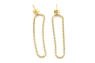 Long Gold Loop earrings  by  Saskia Diez