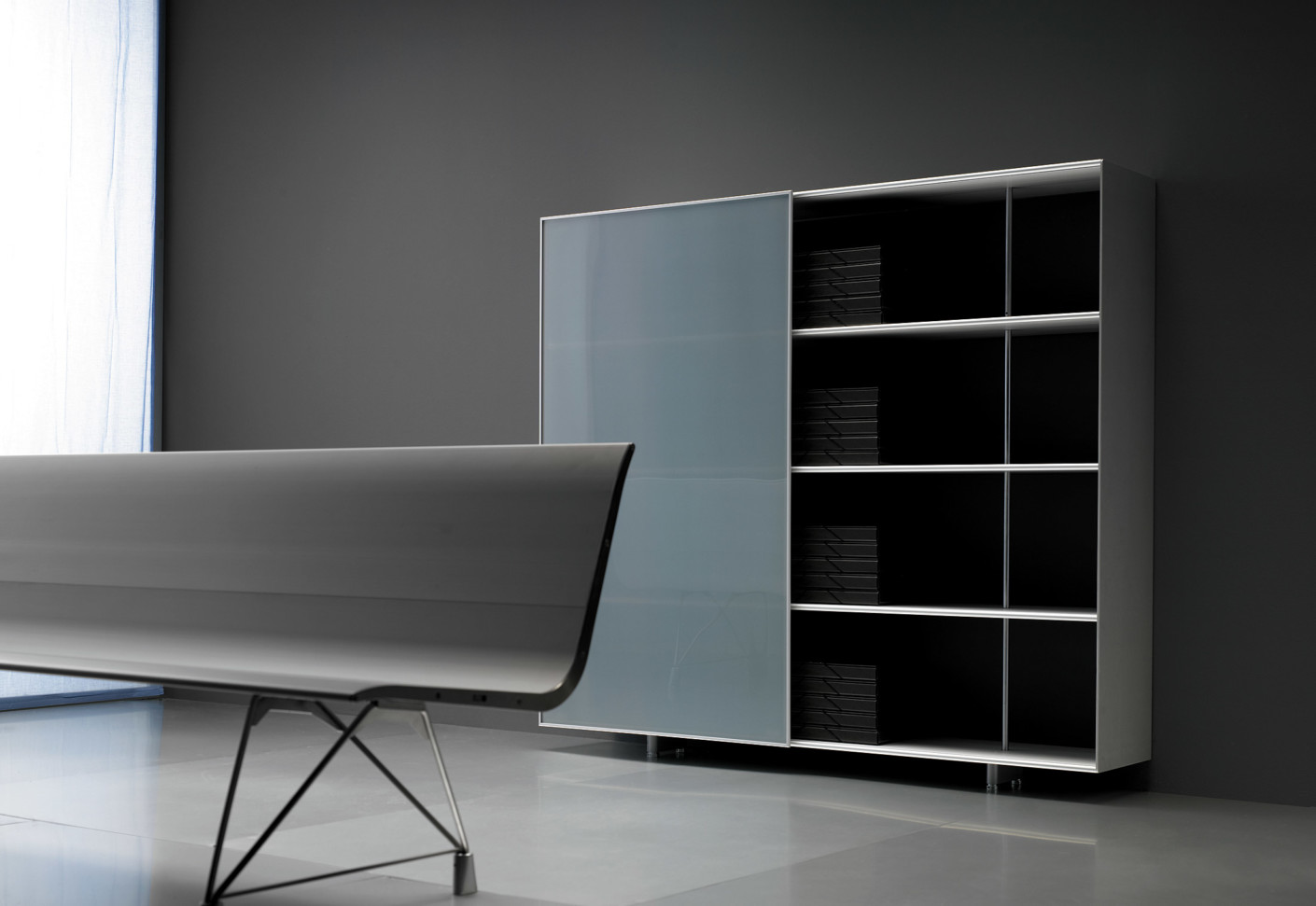 zumm shelf with sliding door by sellex stylepark. Black Bedroom Furniture Sets. Home Design Ideas
