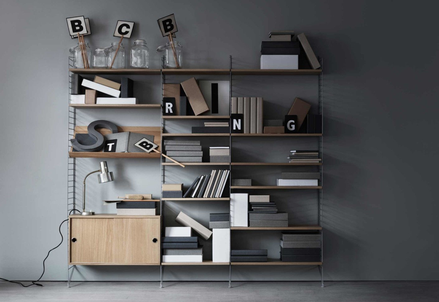 Office contract furniture storage shelving shelf systems - String 174 System By String Stylepark