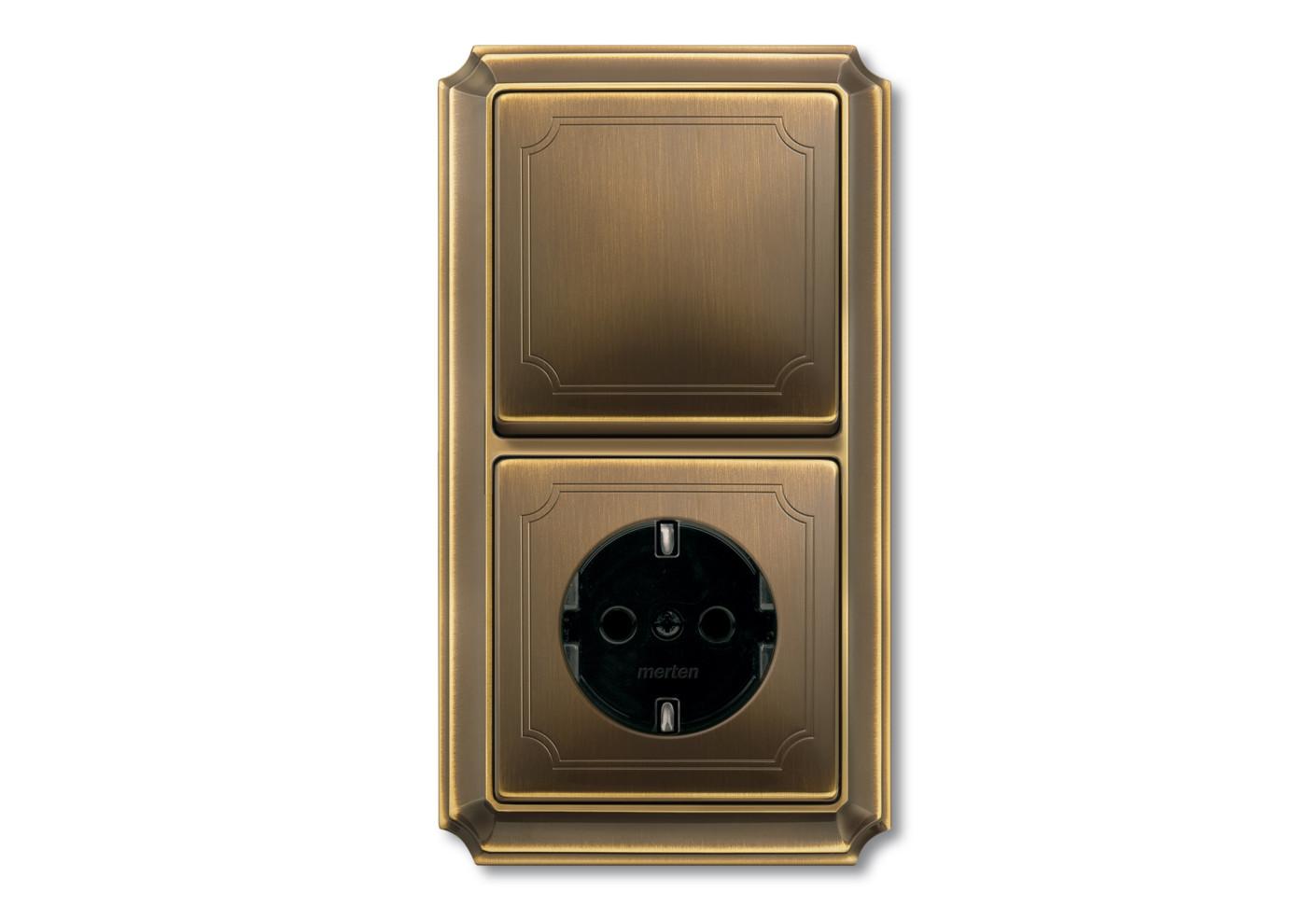 antik schalter steckdosen kombi von merten stylepark. Black Bedroom Furniture Sets. Home Design Ideas