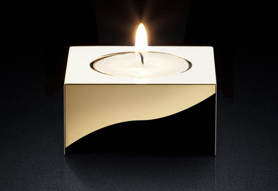 Candle Holder sq gold