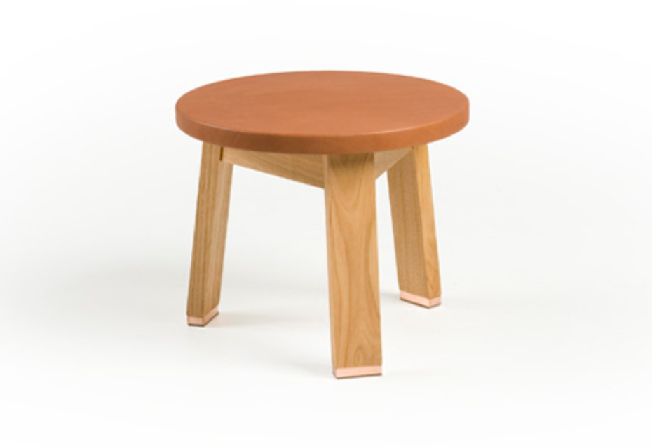 440A Low Stool with a leather seat