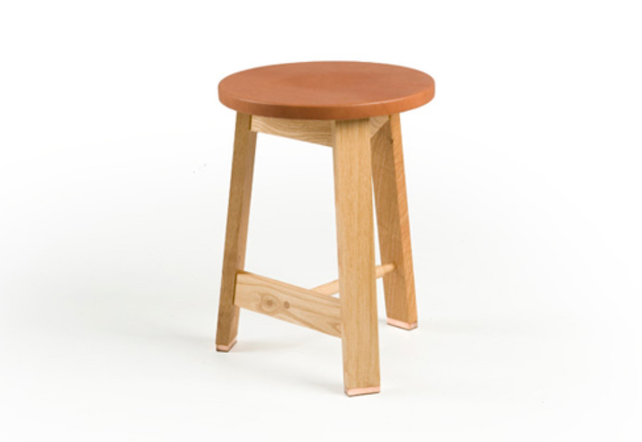 441A Stool with a leather seat