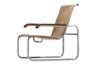 S 35 leather with footstool  by  Thonet