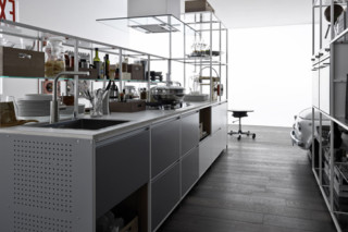 Meccanica with metal doors  by  Valcucine