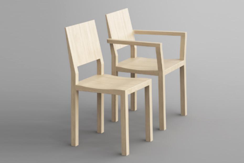 Tau chair with armrest