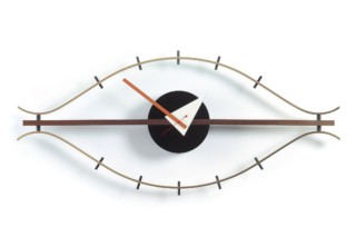 Eye Clock brass/walnut  by  Vitra