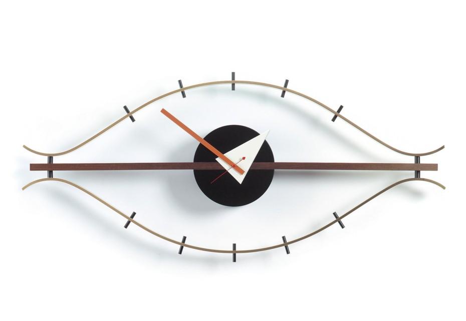 Eye Clock brass/walnut