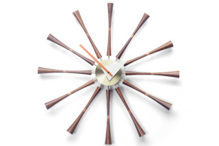 Spindle Clock aluminium/walnut  by  Vitra