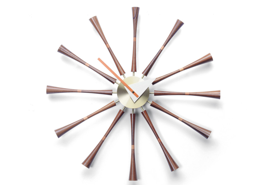 Spindle Clock Aluminium/Walnuss
